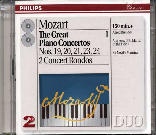 W.A. Mozart / Piano Concertos 19-21, 23-24 / Rondos (Great Piano Concertos vol. 1) / Alfred Brendel / ASMF / Sir Neville Marriner