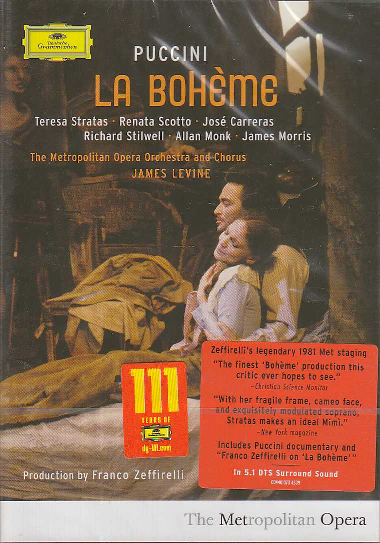 Giacomo Puccini / La Bohème / José Carreras / Renata Scotto / The Metropolitan Opera Orchestra and Chorus / James Levine DVD