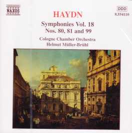 Joseph Haydn / Symphonies 80, 81, 99 // Cologne Chamber Orchestra / Helmut Müller-Brühl